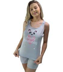 "pijama feminino happy birthday"" panda cinza"""