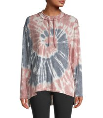 max studio women's tie-dyed pullover top - pink blue tie dye - size xs