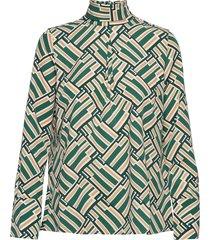 aderyn printed blouse blus långärmad grön morris lady