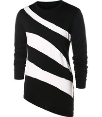 asymmetric color block long sleeve t-shirt