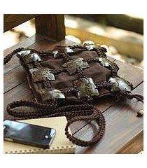 coconut shell shoulder bag, 'earth roses' (thailand)