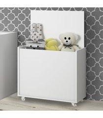 baú de brinquedos com rodízio kd1635 branco - quiditá móveis