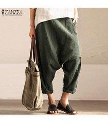 zanzea mujeres elásticos de la cintura bolsillos holgados pantalones largos pantalones flojos ocasionales de las señoras -ejercito verde