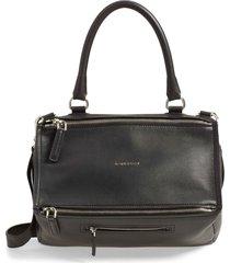 givenchy medium pandora sugar leather satchel - black