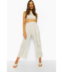 gestreepte culottes met ceintuur, light grey