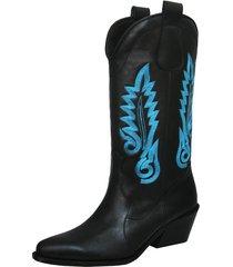 botas stivali hudson cuero negro - azul