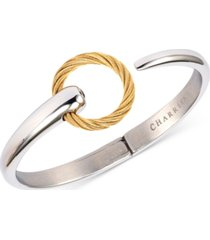 charriol white topaz two-tone circle cuff bracelet (1/3 ct. t.w.) in stainless steel and gold-tone pvd stainless steel