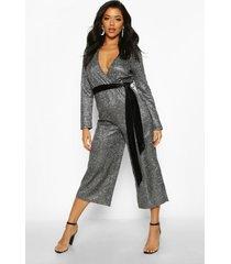 metallic wrap velvet belted culotte jumpsuit, black