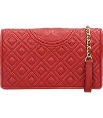 tory burch fleming wallet shoulder bag in red leather