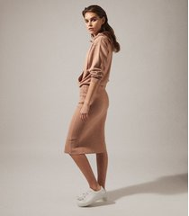 reiss jodie - knitted hoodie dress in camel, womens, size xl