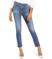 women's citizens of humanity harlow high waist ankle slim cut jeans, size 34 - blue