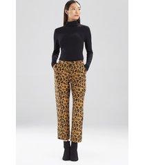 natori leopard jacquard pants, women's, cotton, size 16