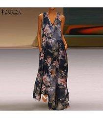 zanzea las mujeres del verano maxi largo vestido de tirantes coctel de la playa del club del partido del vestido floral del tamaño extra grande -naranja