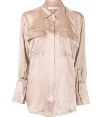 frame silk boyfriend shirt - pink