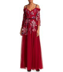 marchesa women's cold shoulder embroidered tulle gown - wine - size 0