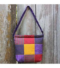 cotton shoulder bag, 'purple joglo' (indonesia)