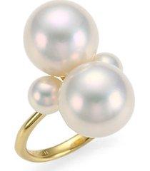 nova 18k yellow gold & 4-pearl snowman ring