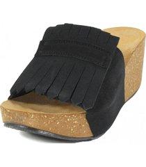 sandalia cuero flecos negro nara
