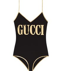gucci lycra swimsuit with gucci print - black