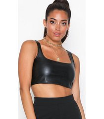 nly one leather look crop top linnen