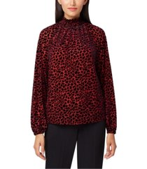 tahari asl petite animal print shirred-neck top