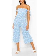 bloemenprint jumpsuit met mouwstrikjes, blauw