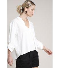 camisa feminina ampla com martingale manga longa off white