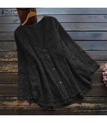 zanzea camisa de ganchillo de encaje de manga larga para mujer tops cuello en v blusa ahuecada tops tallas grandes -negro