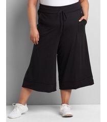 lane bryant women's livi wide leg capri 14/16 black