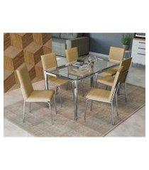 conjunto mesa reno com tampo de vidro kappesberg nude prata/bege