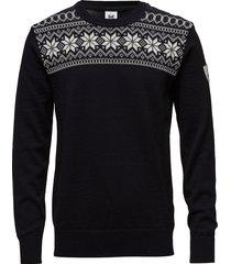garmisch masc sweater stickad tröja m. rund krage svart dale of norway
