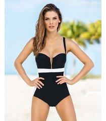 vestido de baño de una pieza con control de abdomen - swimwear negro leonisa
