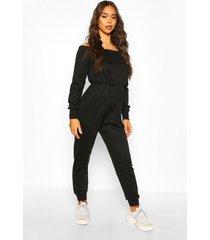 bardot long sleeve jumpsuit, black