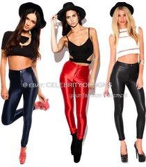leg15 celebrity style high waisted neon coloured metallic skinny disco pants