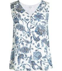 calvin klein women's floral sleeveless top - mariner multi - size m
