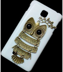 cute retro bronze metal owl branch hard back skin case cover for lg optimus f5