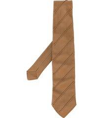 hermès pre-owned ribbed details leather tie - brown