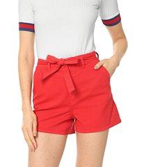 short sarja lunender liso vermelho - vermelho - feminino - algodã£o - dafiti