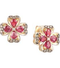 le vian certified passion ruby (1-3/4 ct. t.w.) & diamond (1/5 ct. t.w.) flower stud earrings in 14k gold