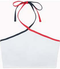 tommy hilfiger women's essential cropped halter bikini swim top white - xs