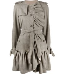 boutique moschino ruffled button-front coat - neutrals