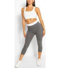 contrast waistband 3/4 basic jersey leggings, charcoal