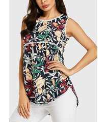 yoins blusa sin mangas con detalles de encaje con estampado floral al azar azul marino