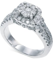 bouquet by effy diamond square halo engagement ring in 14k white gold (1-1/4 ct. t.w.)