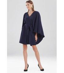 natori solid fluid crepe cape dress, women's, blue, size l natori