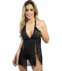 babydoll woman sexy 050 lenceria ropa interior mujer - negro