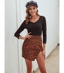 brown slit diseño falda de leopardo de talle alto