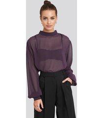 na-kd party high neck balloon sleeve chiffon blouse - purple
