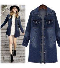 giacche in camicetta di jeans a sezione lunga femminile da giacca a vento