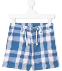 knot tartan fitted shorts - blue